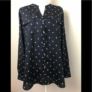 Charter Club Navy & White Stars July 4th Blouse XL